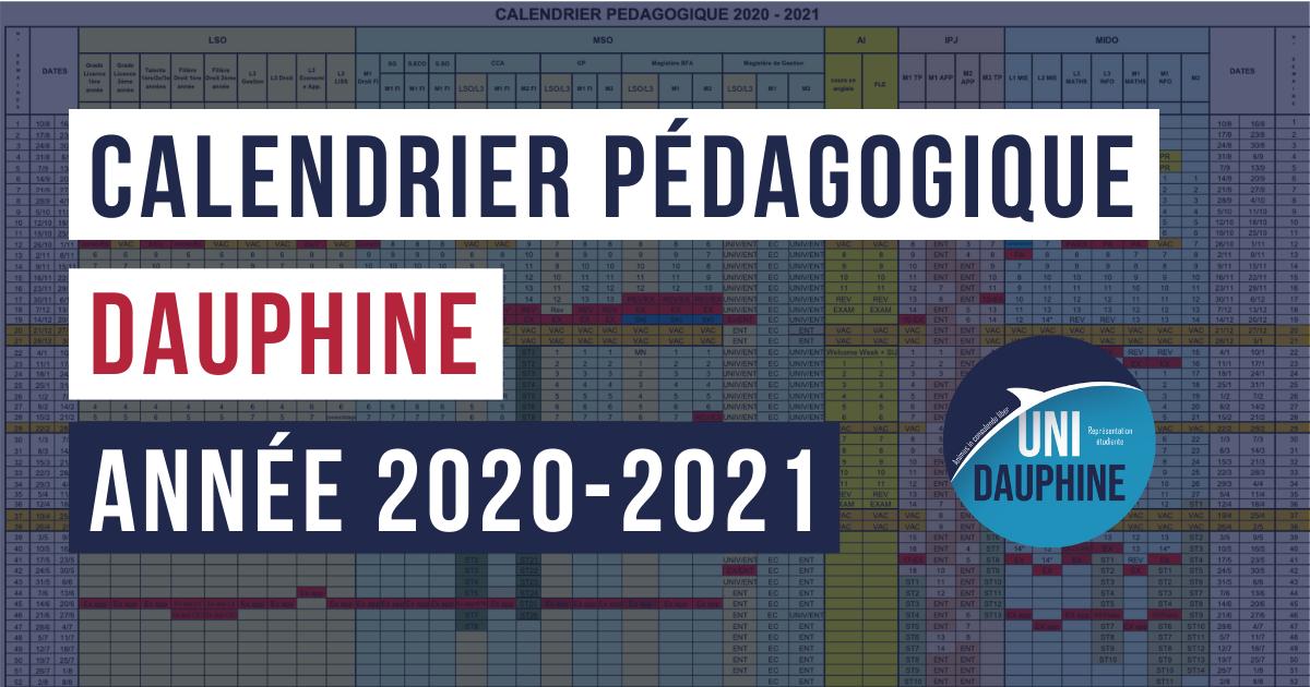 Calendrier Pédagogique Dauphine 2021 Calendrier pédagogique Dauphine 2020 2021 | Uni Dauphine