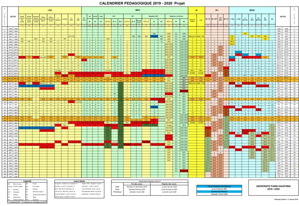 Calendrier Planning 2019.Calendrier Pedagogique 2019 2020 Uni Dauphine