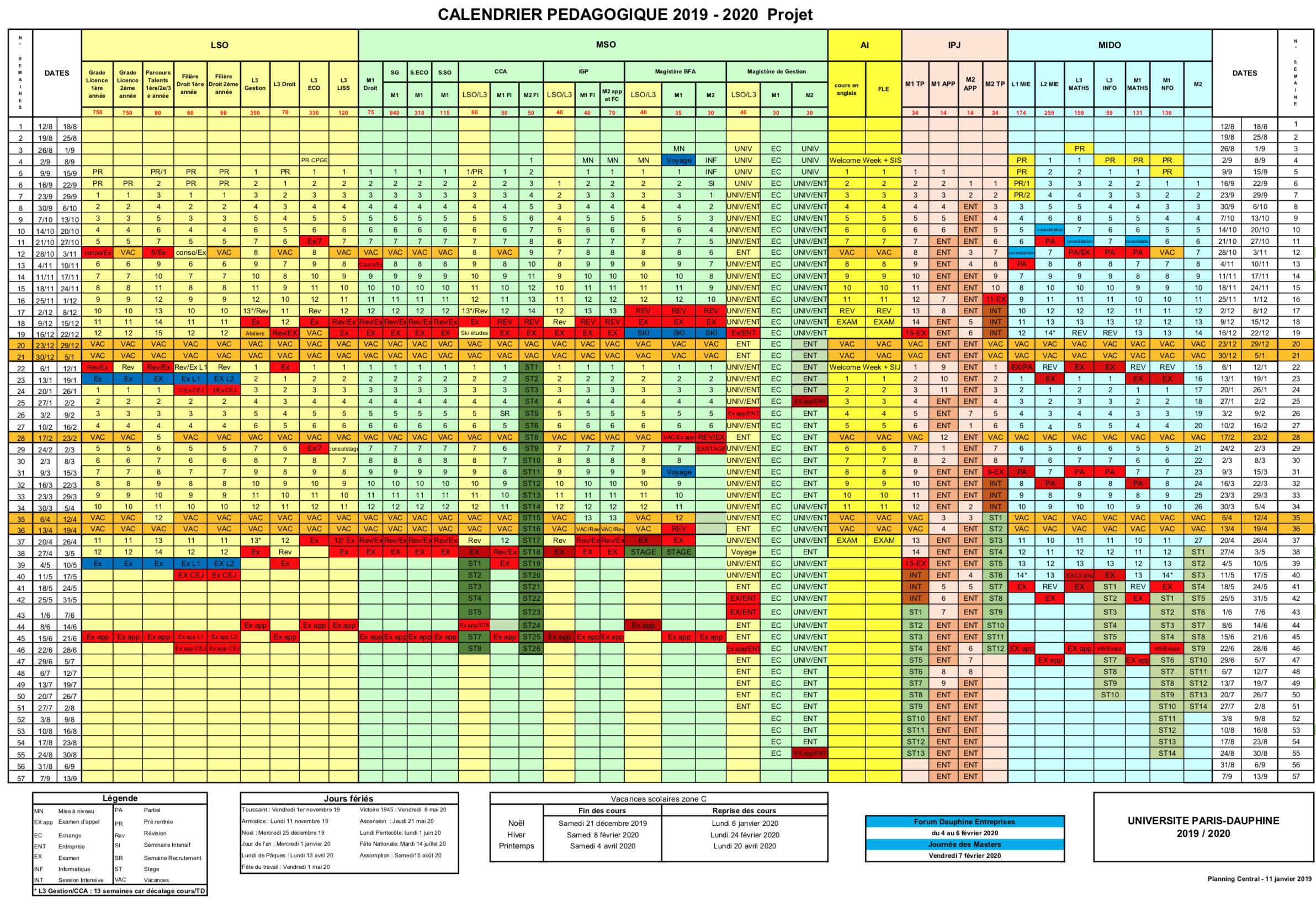 Calendrier Pédagogique Dauphine 2021 Calendrier pédagogique Dauphine 2019 2020 | Uni Dauphine