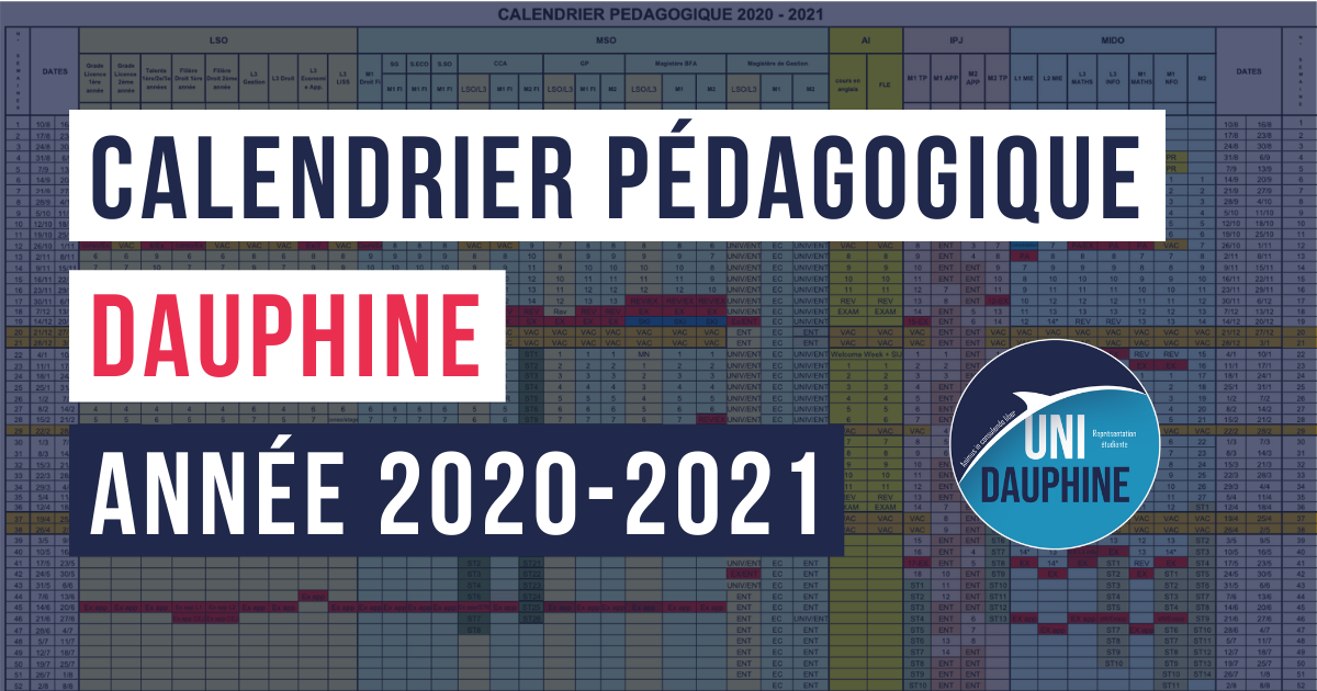 Calendrier pédagogique Dauphine 2020 2021   Uni Dauphine